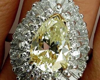"A Breathtaking Estate ""BALLERINA"" 6.78ct w/ Fancy Yellow Pear Shape & White Diamond  Cocktail Platinum Ring - VIDEO"