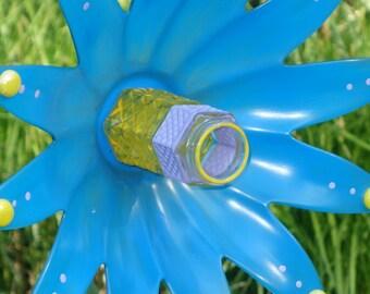 Repurposed Garden art, plate flower, Hand Painted Garden Art and garden sun catcher