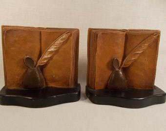 Vintage Syroco Bookends Books and Inkwell