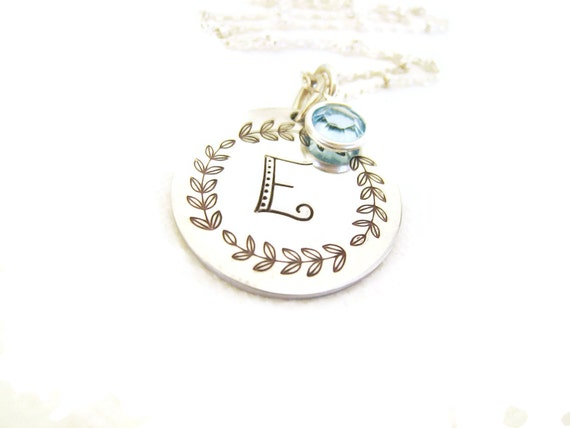Necklace aluminum initial pendant sterling silver mom mommy jewelry