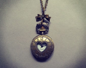 Vintage Inspired Heart & Bow Working Quartz Pocket Watch Pendant Necklace