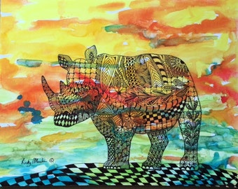 Zentangle  Inspired  Abstract Rhino  Fine Art Watercolor/Marker  Painting  FREE SHIPPING - ebsq Artist  Ricky Martin