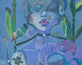Art Print Gaia Earth Bees Nature Dark Mother