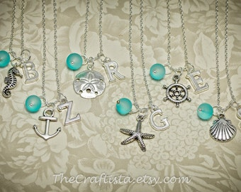 Beach Bridesmaid Necklaces - Sand Dollar Personalized Initial Necklace -Beach Wedding - Starfish Necklace -Shell Charm - Bridesmaid Necklace