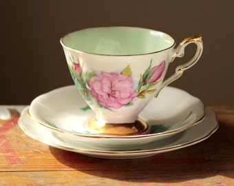 Pink rose teacup saucer and side plate set trio - english vintage UK
