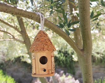 Small Hanging Birdhouse, wine cork art