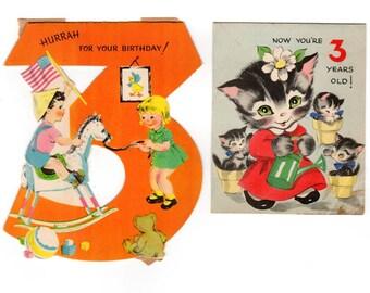 Three Year Old Birthday Cards, 3rd Birthday Cards, Lot of 2, Rocking Horse, Kitten Birthday Card, Volland, 1950s Kids Cards, Bear, Boy, Girl