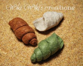 Felt Plush Periwinkle Seashells - Pack of 3