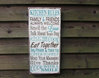 family rules, kitchen rules, country home decor, kitchen decor, primitive country decor, wood signs home decor, primitive decor, hand paint