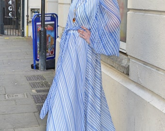 Vintage 1970s 70's Floaty Blue White Stripe Vera Mont Designer Balloon Slv Maxi Dress M