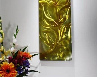Wilmos Kovacs Contemporary Metal Wall Art, Golden Fall Leaves, Abstract Art, Rainbow Art - W186
