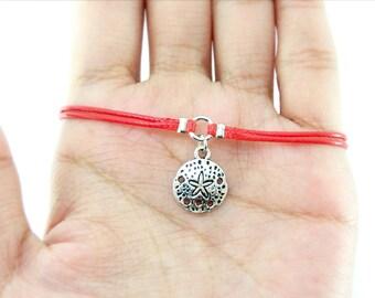 Sand Dollar Charm Bracelet, Red Cord Bracelet, Friendship Bracelet