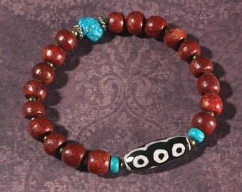 Dzi Bead & Mala Beads Bracelet, Mens Bracelet, Rosewood Bracelet, Ethnic Jewelry, Yoga Bracelet, Turquoise, Hippie Boho Bracelet, Beadwork