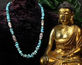 Turquoise Statement Necklace, Dzi Beads, Ethnic Jewelry, Tribal Necklace, Strand Necklace, Tibetan Necklace, Yoga Jewelry, Beadwork