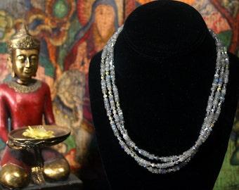 Labradorite Necklace, Layered Necklace, Blue Green Flash Labradorite, Multi Strand Necklace, Ancient Jewelry, Blue Stone Necklace