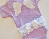 NEWBORN baby girl take home outfit complete one piece romper lavender angel wings ruffles bows headband