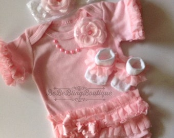 Newborn baby girl bodysuit outfit pink ruffled pearls lace flowers matching socks and headband