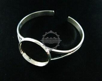 5pcs 25mm round bezel tray silver plated brass bracelet bangle cuff DIY jewelry supplies 1900102