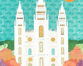Salt Lake City LDS Temple Bright  PRINT (Various Sizes)