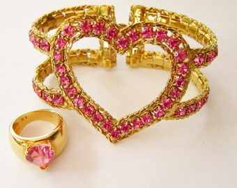 COACH Pink Crystal Heart Bracelet and Heart Ring-**See DETAILS**