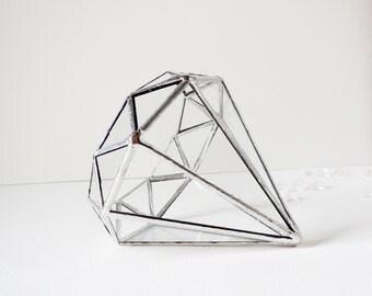 Diamond Terrarium, Silver Tone Terrarium, Stained Glass Planter, Diamond Shape Planter for Indoor Gardening, Wedding Gift. MADE TO ORDER