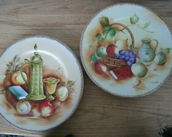 Sale  Vintage Japan  Still Life Hand Painted wall Hanging Decorator Plates