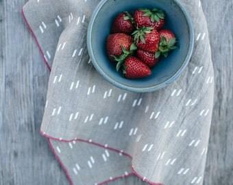 Linen Tea Towel Screen Printed Ecofriendly