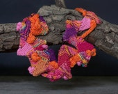 Knitted bib necklace, rustic statement jewelry, colorful fiber art, OOAK