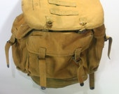 Vintage Army Military Heavy Duty Weathered Worn Canvas Backpack Rucksack LARGE size perfect for Camping Fishing Hiking Gear