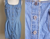90s Denim Dress // Womens Jean Sleeveless Button Down Clueless Scoop Neck Fitted Mini Dress // XS S M L XSmall Small Medium Large