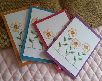 Hand Stitched Sunflower Cards Set of 4