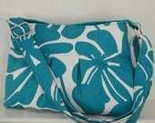 reserved - Ships Now: SMALL PLEATED CROSSBODY / Shoulder Bag, teal floral