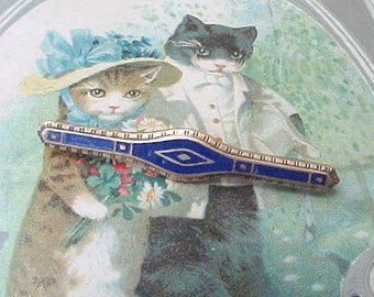 Sweet Edwardian Era Enameled Brooch with Cobalt Blue
