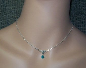 Sterling Silver Birthstone Necklace. Swarovski Crystal Necklace. Daughter. Girl. Woman. Choose Color and Length.