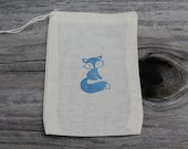 Set Of 10 Woodland Fox Muslin Drawstring Party Favor Bags 100% Organic