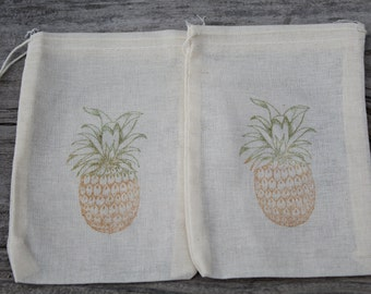 Set of 10 Hand stamped Pineapple Tropical Destination Wedding Party Muslin Gift Favor Bags100% organic made in america