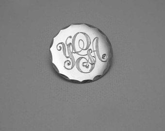 Hand Engraved Monogram Brooch