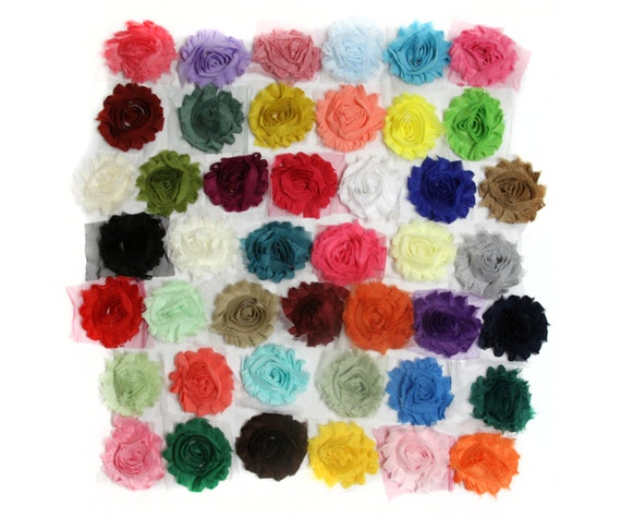Shabby Chic Flowers -  Solid Color - set of 12