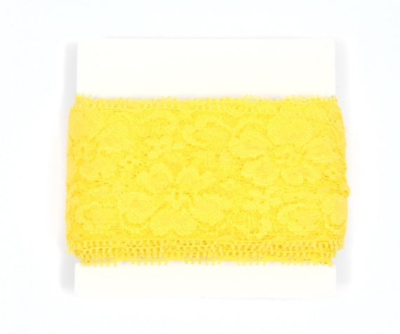 Stretch Lace - TWO inch wide - 5 or 10 yards - Yellow