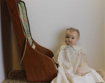 Vintage Composite Doll in Vintage Wood Booster Seat