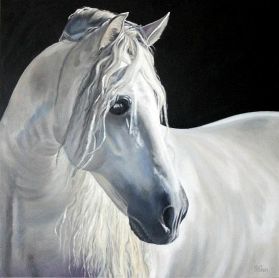 Original Oil Painting: White Horse on Black Background