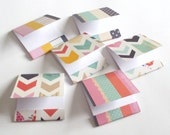 matchbook notepads chevron and stripes Set of 6 mini matchbooks jotters grocery list pad tiny memo pad party favors