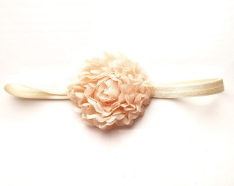 Shabby Chic Flower Baby Girl Headband // Peach // Rosette // Newborn // Infant // cream :SM