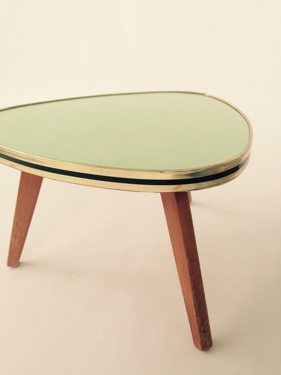 Vtg Mid Century \/\/ Small Triangle Side Table \/\/ Gold Rim