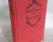 """Vintage Book """"Good Manners for Boys and Girls"""" by Ellin Craven Learned"""