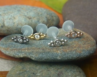 Cubic Zirconia bazel set with double trinity balls push in 16gauge bio flexible Tragus / lip labret / cartilage/ helix / Monroe