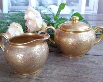 Germany Pickard Gold Encrusted Rose & Daisy Flowers Creamer and Sugar