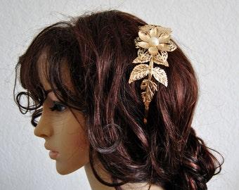 Golden Leaf Bridal Headband Grecian Wedding Accessories Woodland Flowers Headwear Headpiece Crown Tiara