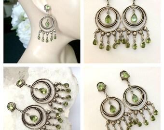 Vintage Peridot Chandelier Earrings Sterling Silver, Vintage Boho Chandeliers Peridot Gems, August  Birthstone