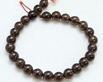 "Natural Smoky Quartz Gemstone Bead Strand, Round, 8mm, 8"" strand, 24pcs/strand, Free Shipping within USA"